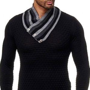 Mens Brave Soul Turtle Light Knit Pull Over Knitted Jumper Funnel Sweater